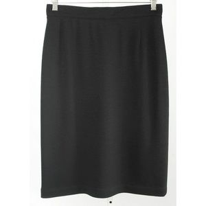 Louis Feraud Black Stretch Wool Pencil Skirt
